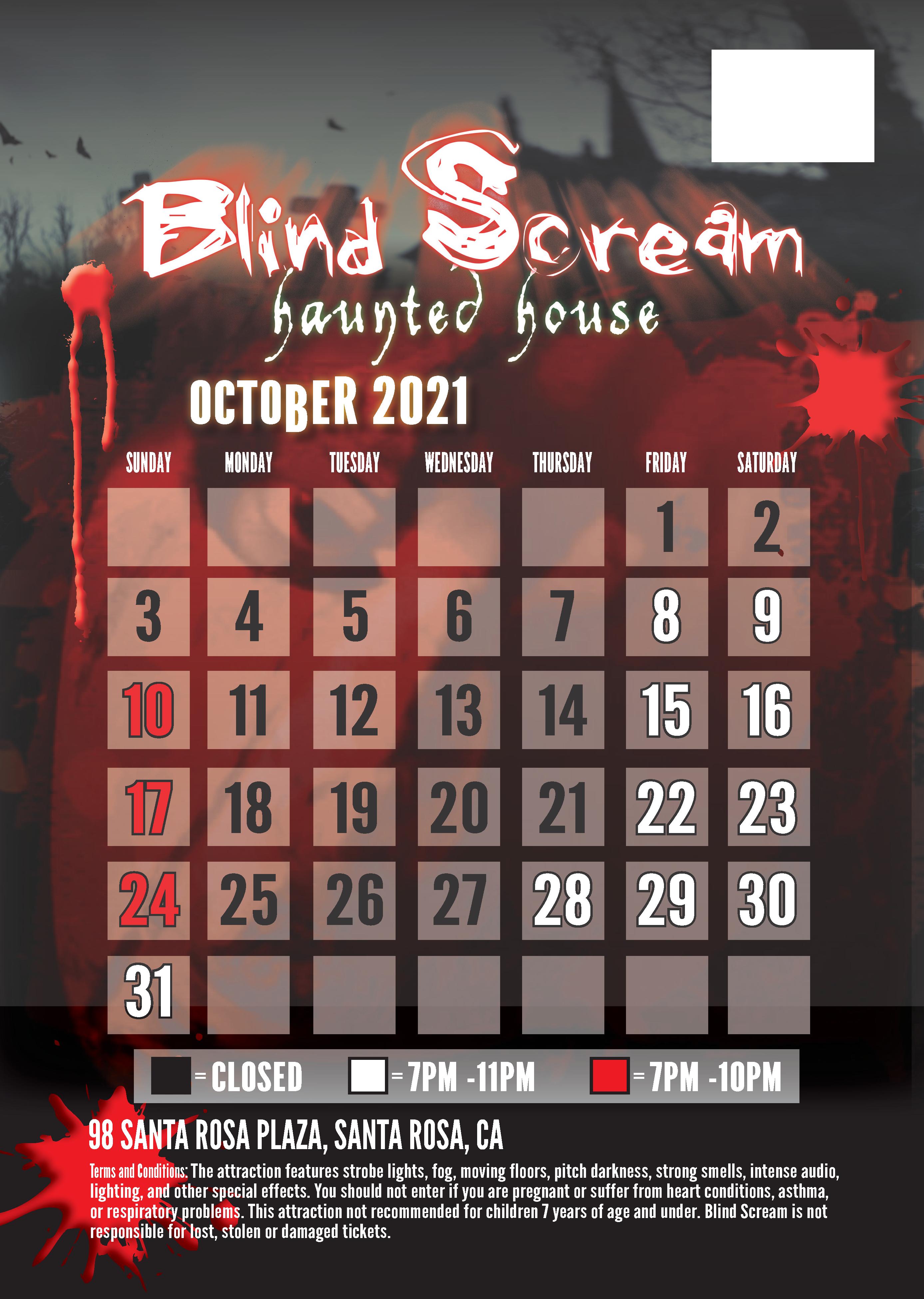 2021 Blind Scream Calendar